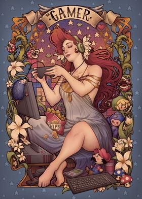 Art Nouveau allegory gamer for retro gamers of all shap ...