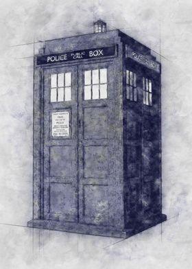 TARDIS - sketch style
