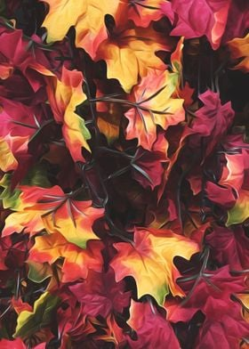 maple leaves texture background in autumn season