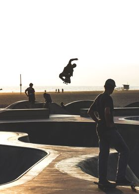 Photograph taken by me against a sunset at Venice Beach ...