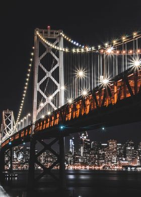 Here is night time cityscape of the San Francisco skyli ...