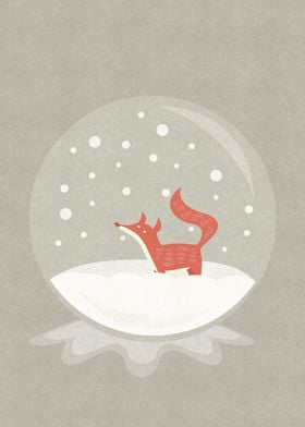 Little fox in a snow globe.