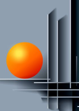 Orange ball and shapes