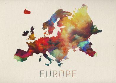 Watercolor Map of Europe.