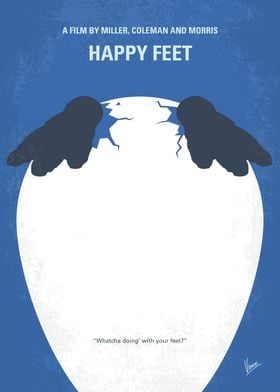 No744 My Happy Feet minimal movie poster Into the worl ...