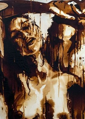 -Coffee Under The Shower- Painted with real coffee