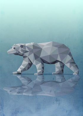 Geometric polar bear walking on ice. Elegant and cold.  ...