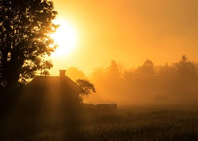 Sunrise on the countryside.