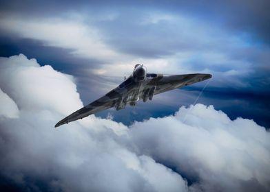 Avro Vulcan Bomber Xh558 soars through the clouds