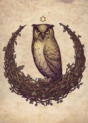 Witch design with Owl and an Hedera Helix (Ivy) moon. F ...