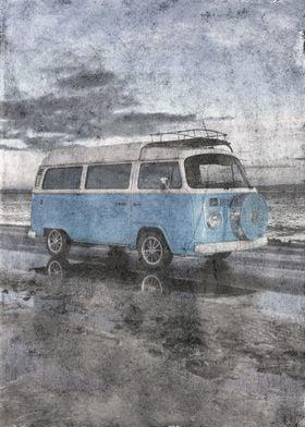 Vintage Powder Blue VW Camper