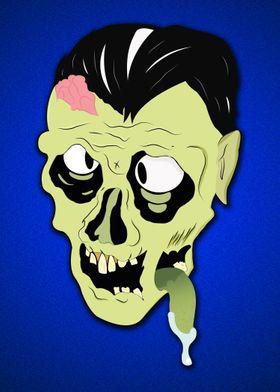 Zombie on blue metal flake.