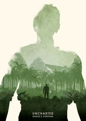 Poster design for the video game, Uncharted.