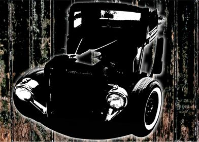 rat rod truck on wood print background.