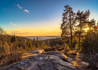 Sunset looking over Oslo, Norway.