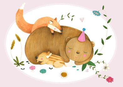 Bear, fox and wild boar are sleeping