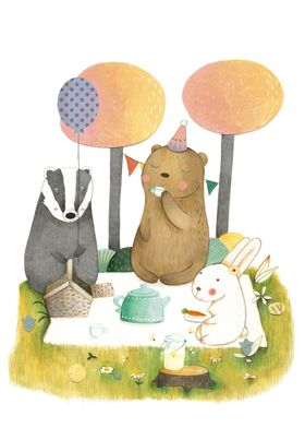 Bunny, Bear and Badger have a picnic in the forest