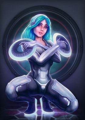 Something like a Pin Up inspired by Tron