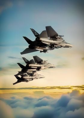 Grumm F14 Tomcats in formation above the clouds