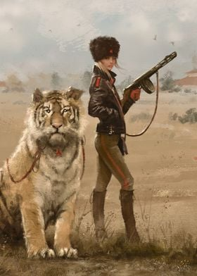 Olga with her tiger Changa, from my World of 1920+