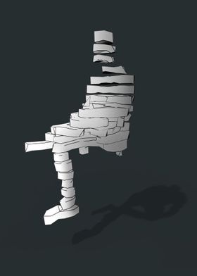 Abstract illustration of a sliced man sitting suspended ...