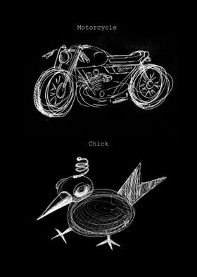A doodle of a motorcycle and a chick.