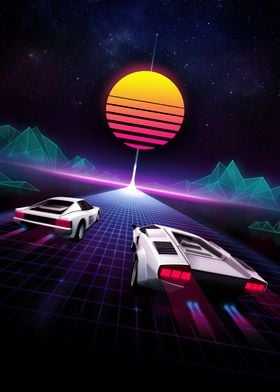 The ultimate super car race of the 80's on a neon lit h ...