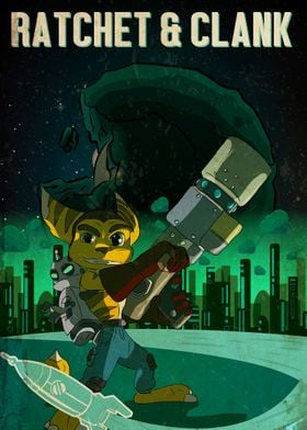 A Retro style image of Ratchet and Clank