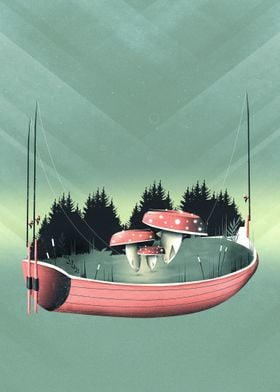 Fishing for Mushrooms | Digital Art, 2017