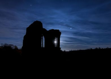 Silhouette of Egglestone Abbey, Teesdale