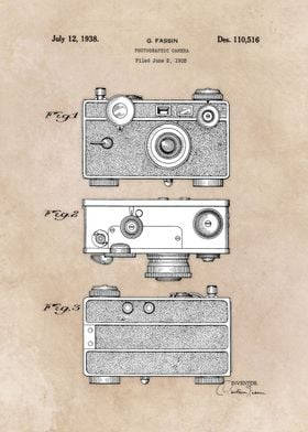 patent art Fassin photographic camera 1938