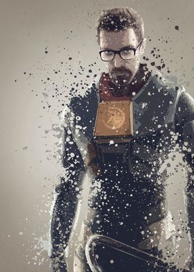 Gordon Freeman. Splatter effect artwork inspired by the ...