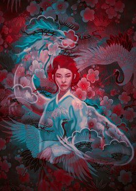 Beautiful geisha and dragon in fantasy theme.