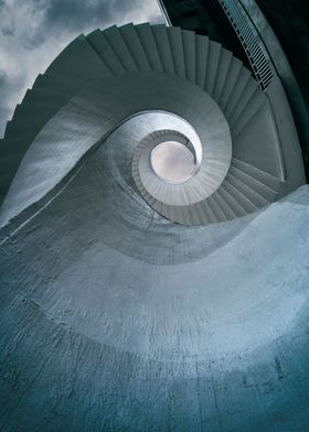 Spiral stairs in blue tones