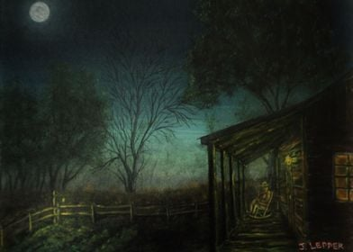 Acrylic painting by Jack Lepper:  A country boy is enjo ...