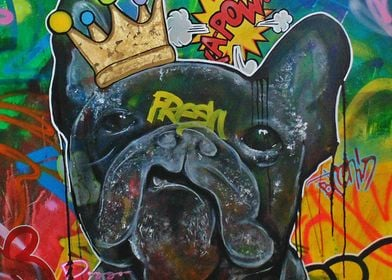 French Bulldog in a street art style. His name is Fresh ...