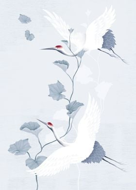 red-crowned, manchurian cranes symbolize luck and longe ...