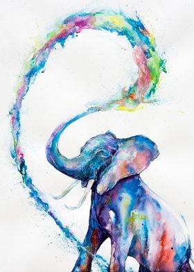 Watercolor elephant print