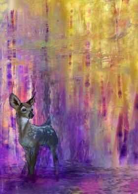 A faun in an abstract warm forest.