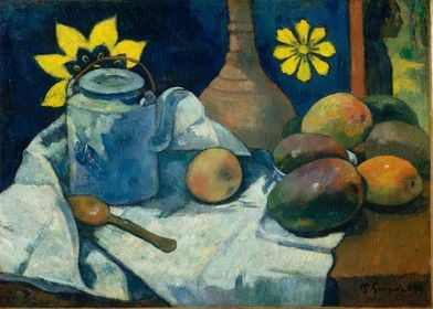 Paul Gauguin - Still Life with Teapot and Fruit, 1896,  ...