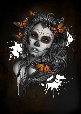 Sugar Skull Girl Butterfly