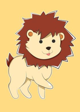 A Cartoon Yellow Lion with small round black Anime eyes ...