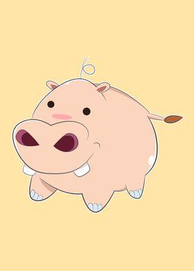 A Pink Cartoon Baby Hippopotamus with small circle blac ...