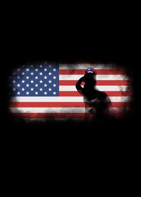 A Black Cat soldier silhouette saluting the US flag, Th ...