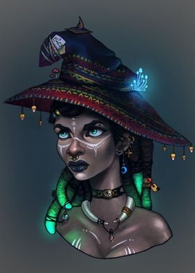 A digital painting of an African American witch trying  ...