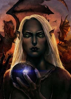 A digital painting of a dark elf holding a magical, mys ...