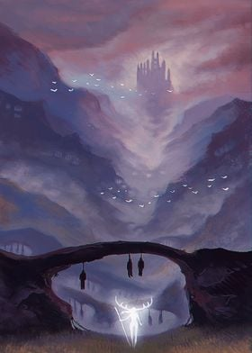 A digital painting of a castle in the high mountains. T ...