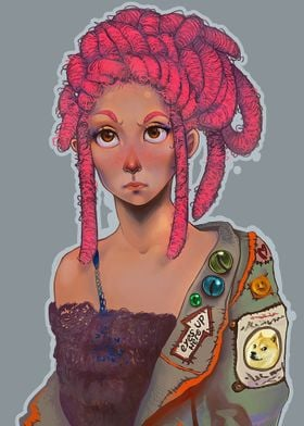 A digital painting of a girl with pink dreads.