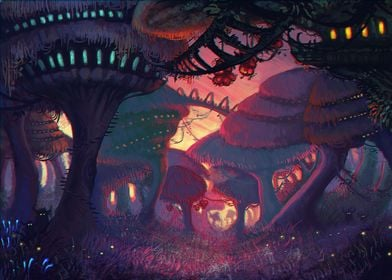A digital painting of a small village built in mushroom ...