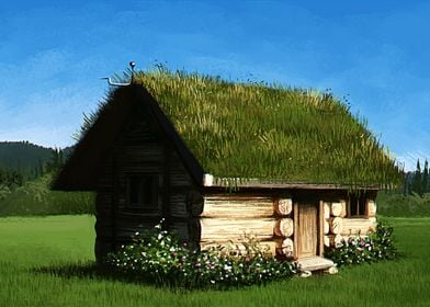 A digital painting of a small wooden cottage with a bea ...